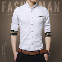 青年男式韩版春秋衬衣春夏新品长袖全棉衬衫男士时尚修身男装