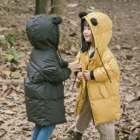 儿童2017新款羽绒服 男女童韩版羽绒服宝宝卡通耳朵连帽羽绒服