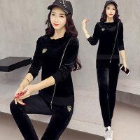 新款天鹅绒时尚修身显瘦运动套装女 韩版金丝绒卫衣两件套潮女士休闲服
