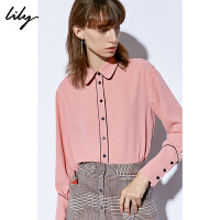 【2件4折到手价:219.6元】 Lily2020春新款女装简约撞色条纹小灯笼袖直筒衬衫120109C4941/493