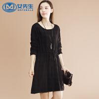 新款时尚格子系带宽松大码女装长袖连衣裙显瘦女裙