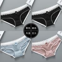 4条装女士纯棉内裤蕾丝边可爱学生棉质面料低腰性感透气女三角裤