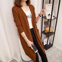 韩观中长款长袖针织衫外套新款秋冬季女装纯色大码毛衣开衫外搭打底衫