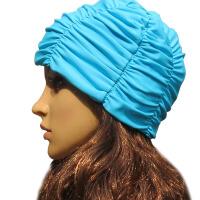 20180412130711669新款时尚泳帽 女 长发 防水双层褶皱加大游泳帽女泳衣/游装帽