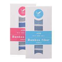 爱竹人条纹毛巾两条组合装