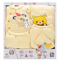 班杰威尔 秋冬加厚婴儿礼盒 纯棉新生儿内衣5件套 送定型枕初生宝宝套装 加厚温暖熊款