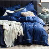 家纺北欧简约纯色刺绣全棉四件套1.5/1.8m床双人纯棉素色床单被套