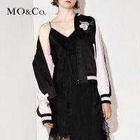 MOCO短款拼接立领刺绣棒球服女夹克外套秋MA171JKT103 摩安珂