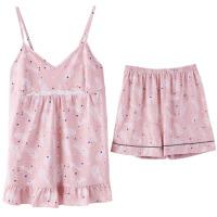 睡衣夏吊带性感两件套短裤少女甜美套装韩版家居服