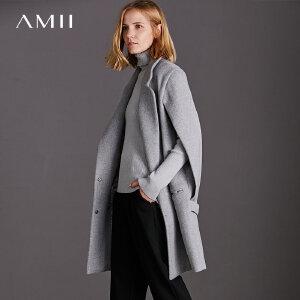 【品牌团 1件7折/2件5折】Amii[极简主义]现代感 双排扣羊毛呢外套 2017冬装新宽松中长大衣