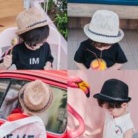 儿童草帽夏男童沙滩帽亲子帽英伦韩版男女儿童出游爵士帽礼帽凉帽