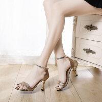户外凉鞋女韩版罗马风时尚百搭休闲单鞋一字带高跟鞋潮